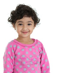 Portrait of a Cute Toddler Girl, Isolated, White