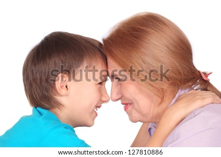 portrait of a cute woman with kid