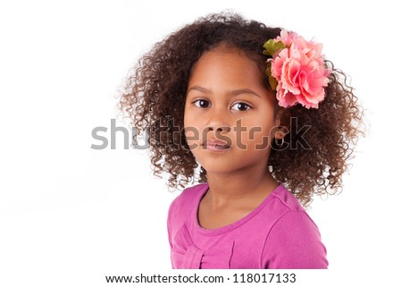 Portrait of a cute young African Asian girl,isolated on white background