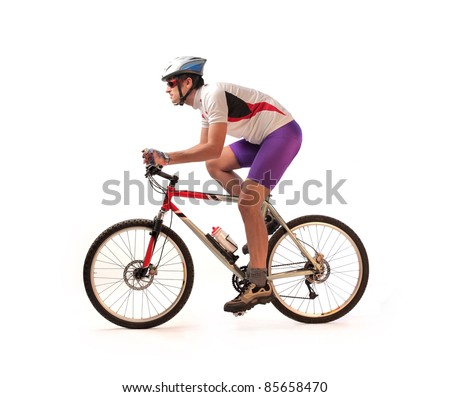 Portrait of a cyclist riding a bike