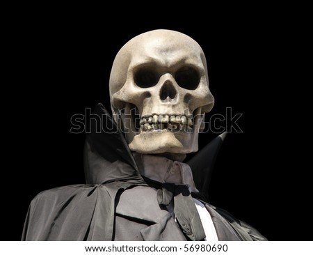 portrait of a death skeleton, grim reaper isolated on black with clipping path