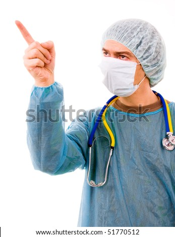portrait of a doctor pointing with is finger, isolated on white