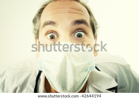 Portrait of a Doctor with surprise expression.