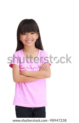 Portrait of a emotional beautiful little girl, Isolated on white