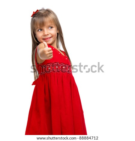 Portrait of a emotional beautiful little girl showing positive thumbs up sign - stock photo