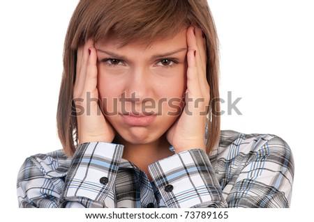 Portrait of a emotional beautiful teenage girl. Isolated on white background.