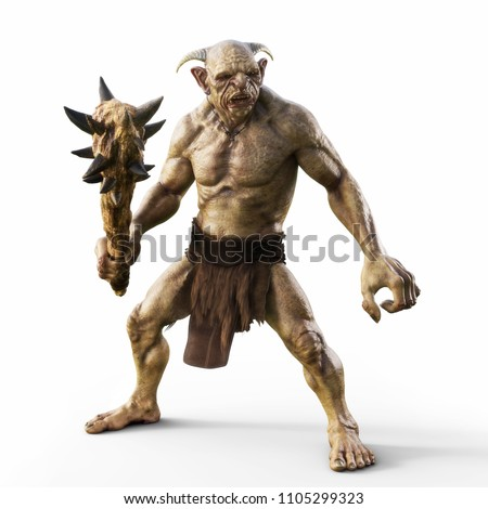 Portrait of a evil troll with spiked club, ready for battle on an isolated white background. 3d rendering