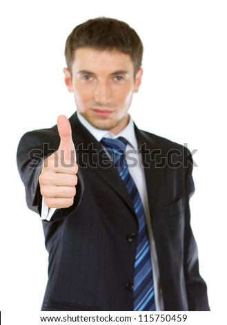 Portrait of a excited business man showing a success sign, isolated on white background.