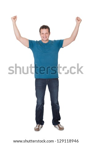 Portrait of a excited man in casual outfit. Isolated on white background