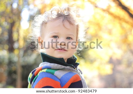 Portrait of a face of a happy child, boy, outdoors, fall season and foliage