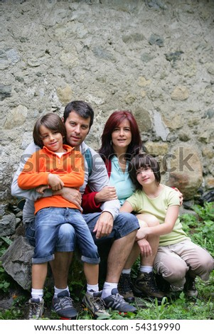 Portrait of a family in the countryside