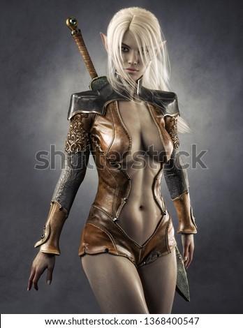 Portrait of a fantasy dark elf female warrior with white long hair. 3d rendering . Fantasy illustration