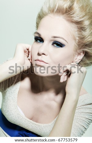 Portrait of a fashion blond with smoky eyes