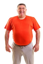 Portrait of a fat man smiling isolated on white background