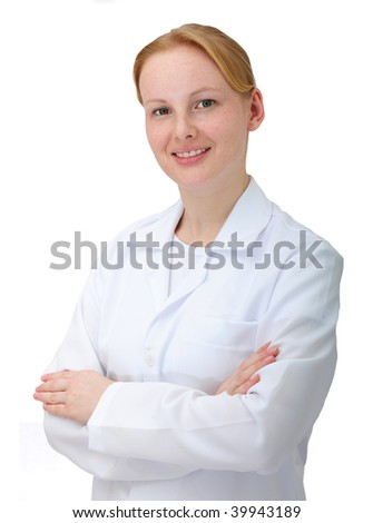 portrait of a female doctor or chemist isolated on white