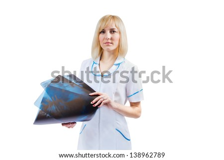 Portrait of a female doctor with X-ray pictures, isolated on white background