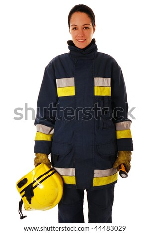 stock photo : Portrait of a female firefighter isolated on white