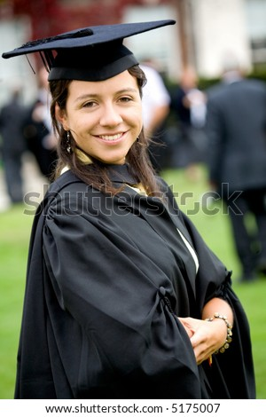 portrait of a female graduating at university