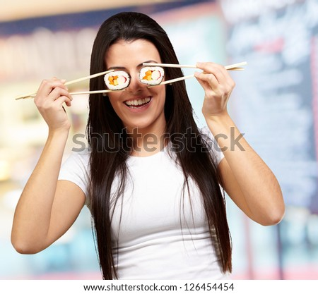Portrait Of A Female Holding Sushi Roll, Background