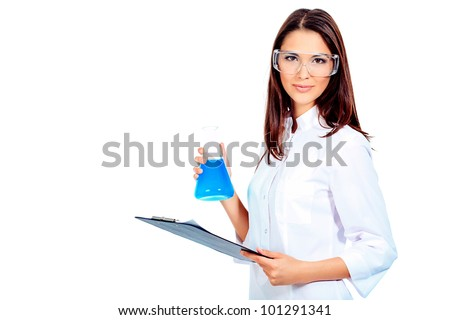 Portrait of a female laboratory assistant holding flask. Isolated over white.