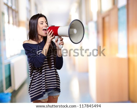 Portrait Of A Female With Megaphone, Indoor