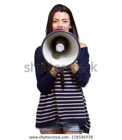 Portrait Of A Female With Megaphone On A White Background