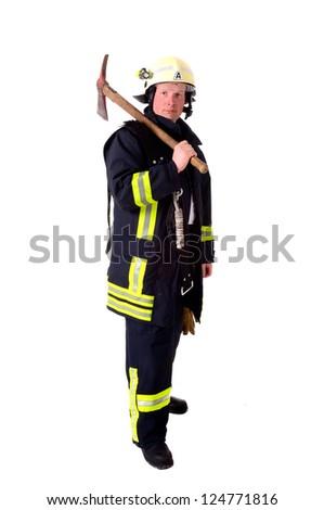 Portrait of a firefighter in work uniform