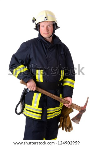 Portrait of a firefighter in work uniform