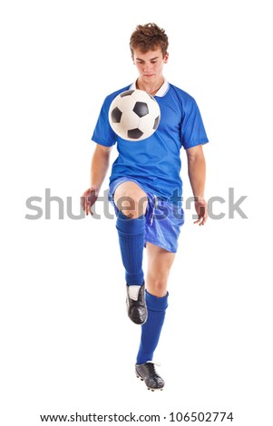 Portrait of a footballer or soccer player cut out on a white background