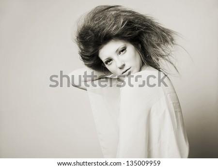 Portrait of a fresh beautiful fashion sexy mod