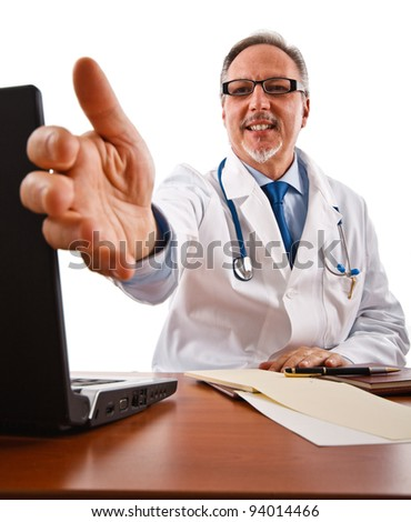 Portrait of a friendly doctor introducing himself