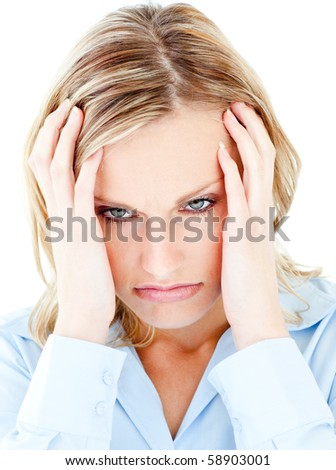 Portrait of a frustrated woman against white background wearing blouse