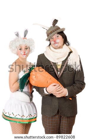 Portrait of a funny couple dressed as rabbits