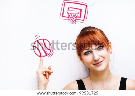 Portrait of a girl. Basketball conception