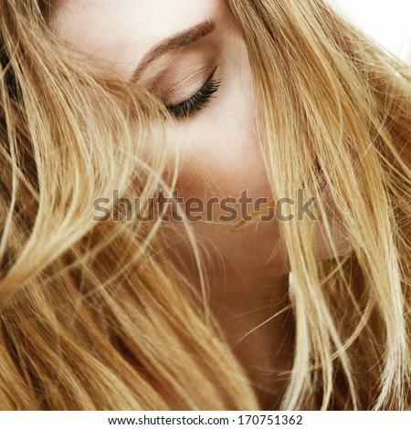 Portrait of a girl, facial hair