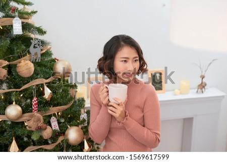 Portrait of a girl. Girl smiling. Girl celebrates Christmas