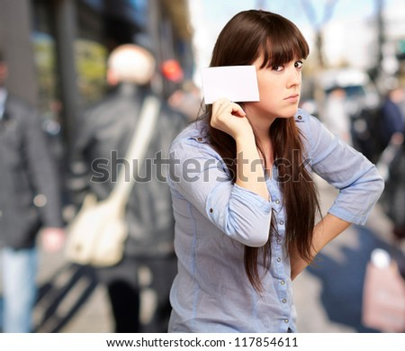 Portrait Of A Girl Holding Paper And Sad, Outdoor