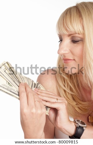 portrait of a girl holding the money