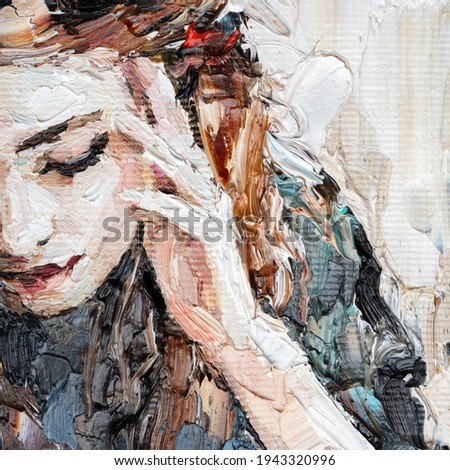 Portrait of a girl in a cafe. Fragment of an oil painting. Atractiv art on canvas. Imagine de stoc ©
