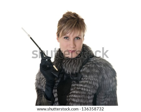 portrait of a girl in a fur coat with cigarette