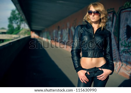 portrait of a girl in a summer town