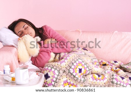 portrait of a girl in bed with toy