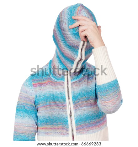 Portrait of a girl in cardigan with a hood with no face - philosopher