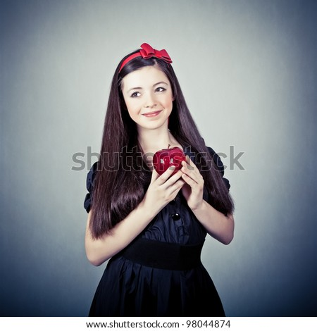 Portrait of a girl, in snow white costume - stock photo