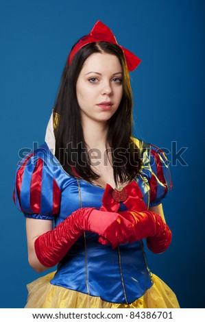Portrait of a girl, in snow white costume,looking at camera. Adobe RGB color space.