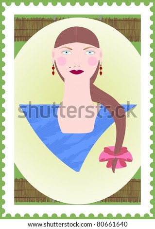 Portrait of a girl in the frame under the postage stamp on the background of the rural landscape.