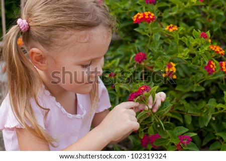portrait of a girl on a background of flowers