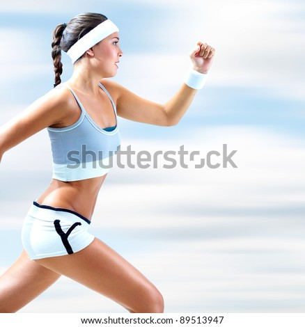Portrait of a girl running outdoor in summer
