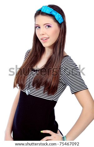 Portrait of a girl teenager. Isolated over white background.