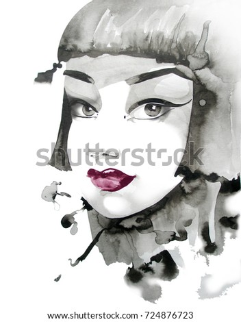 portrait of a girl with black hair. black and white watercolor illustration